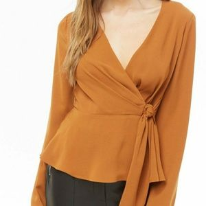 Forever 21 dark orange mock wrap top NWT